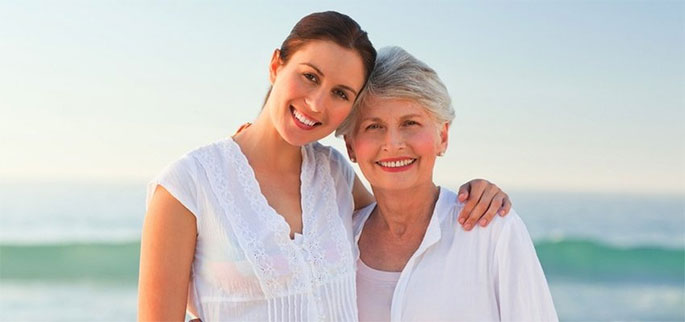 Adult woman and her elderly mother